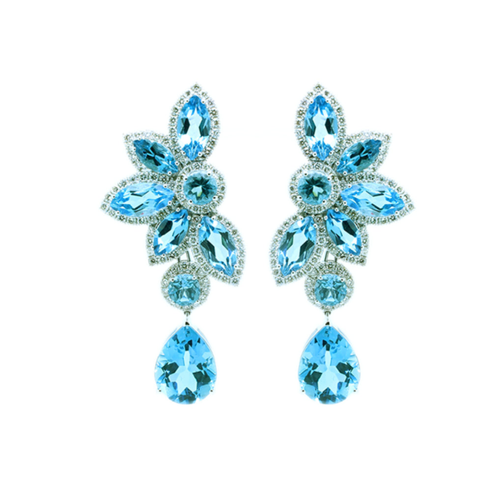 Multi-wear Topaz and Diamond Earrings