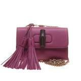 Gucci 387612 Purple Bamboo Daily Leather Chain Bag