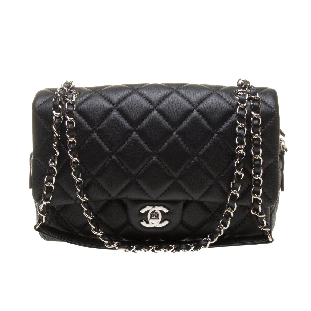 Chanel A90838 Black Calf Leather Quilted Chain Bag