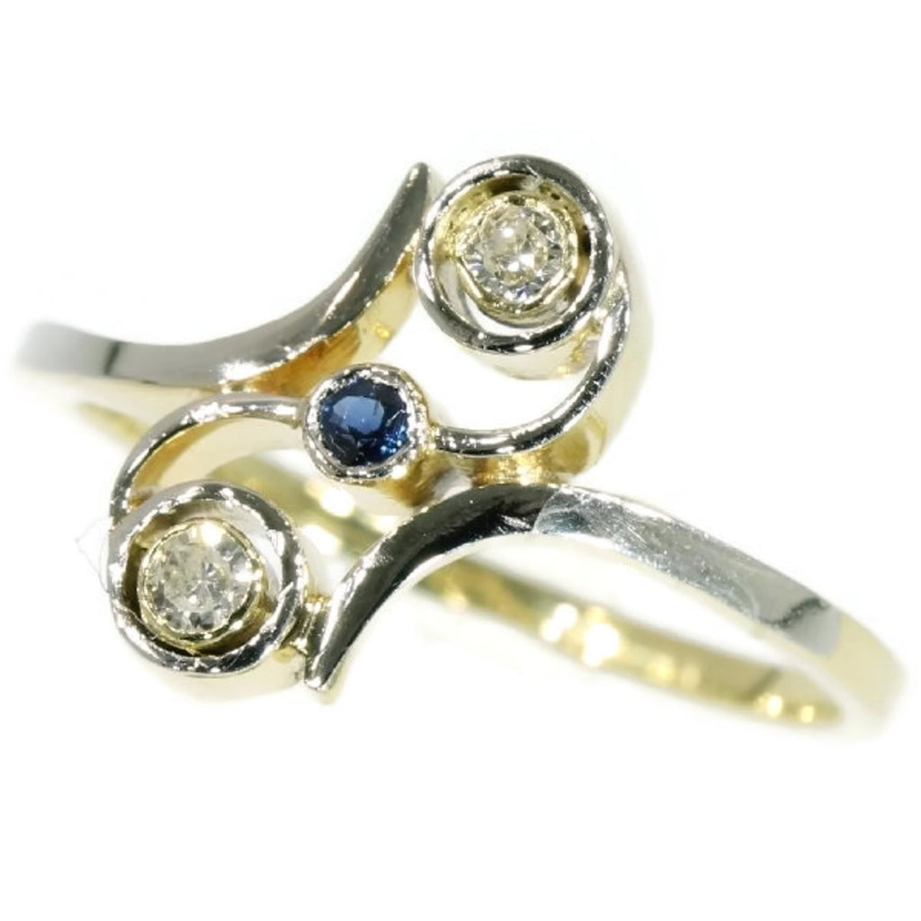 Diamond vintage crossover ring