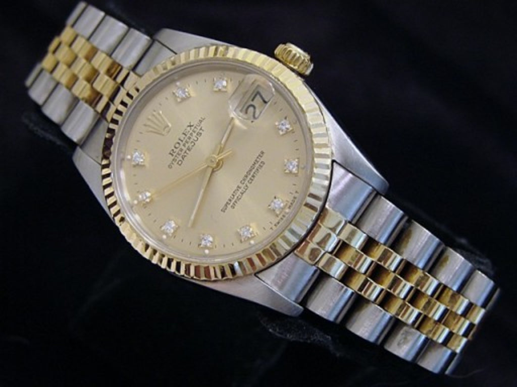 Pre Owned Mid Size Rolex Two-Tone Datejust with a Gold Diamond Dial 68273