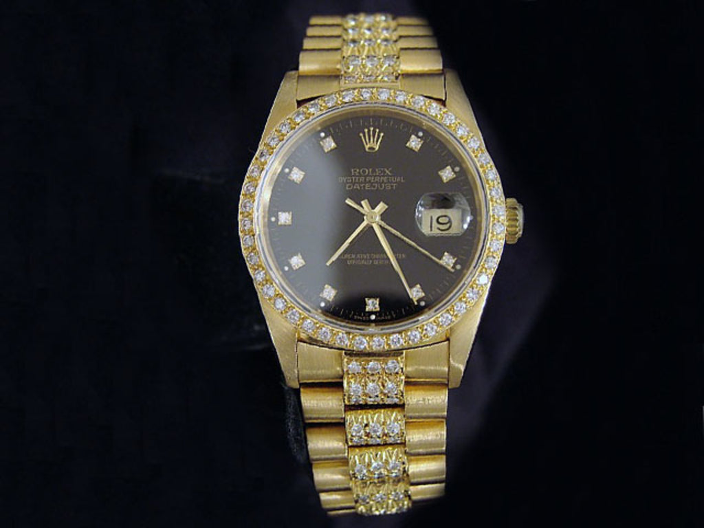 Pre Owned Mens Rolex Yellow Gold Diamond Datejust with a Black Dial 16238