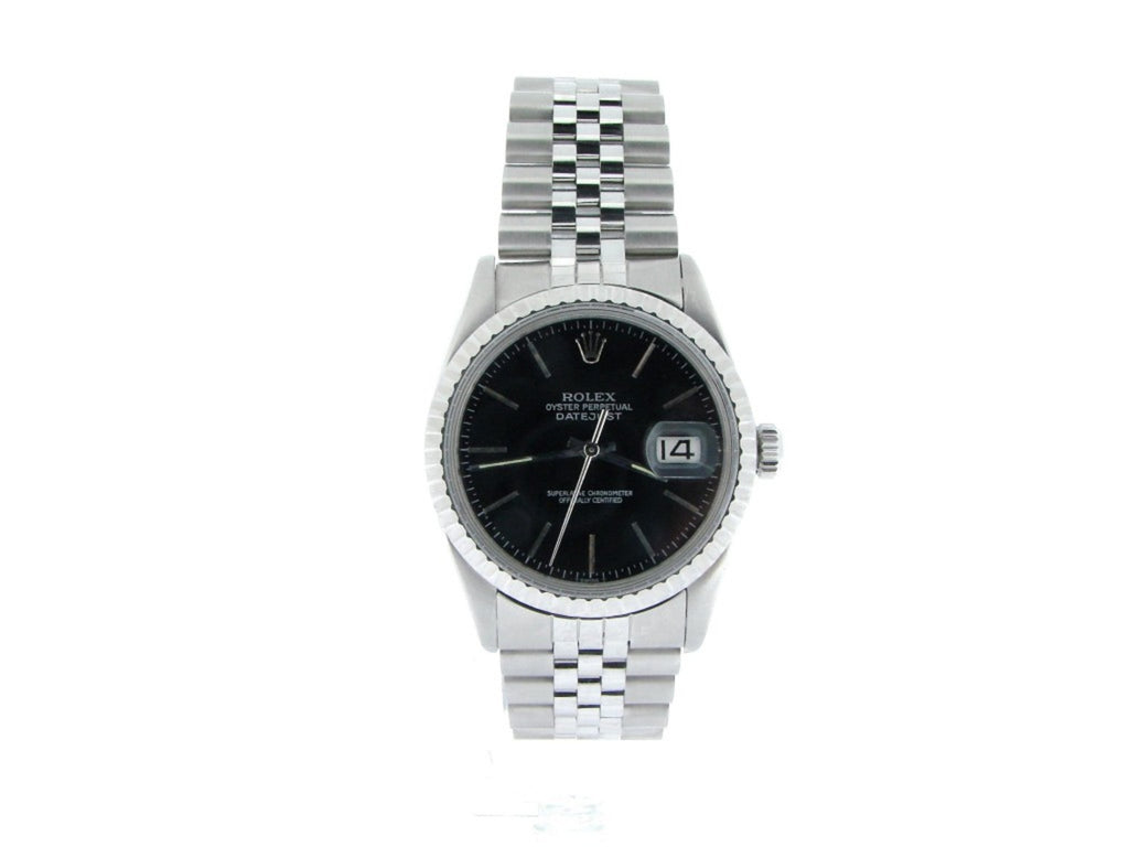 Pre Owned Mens Rolex Stainless Steel Datejust with a Black Dial 16030