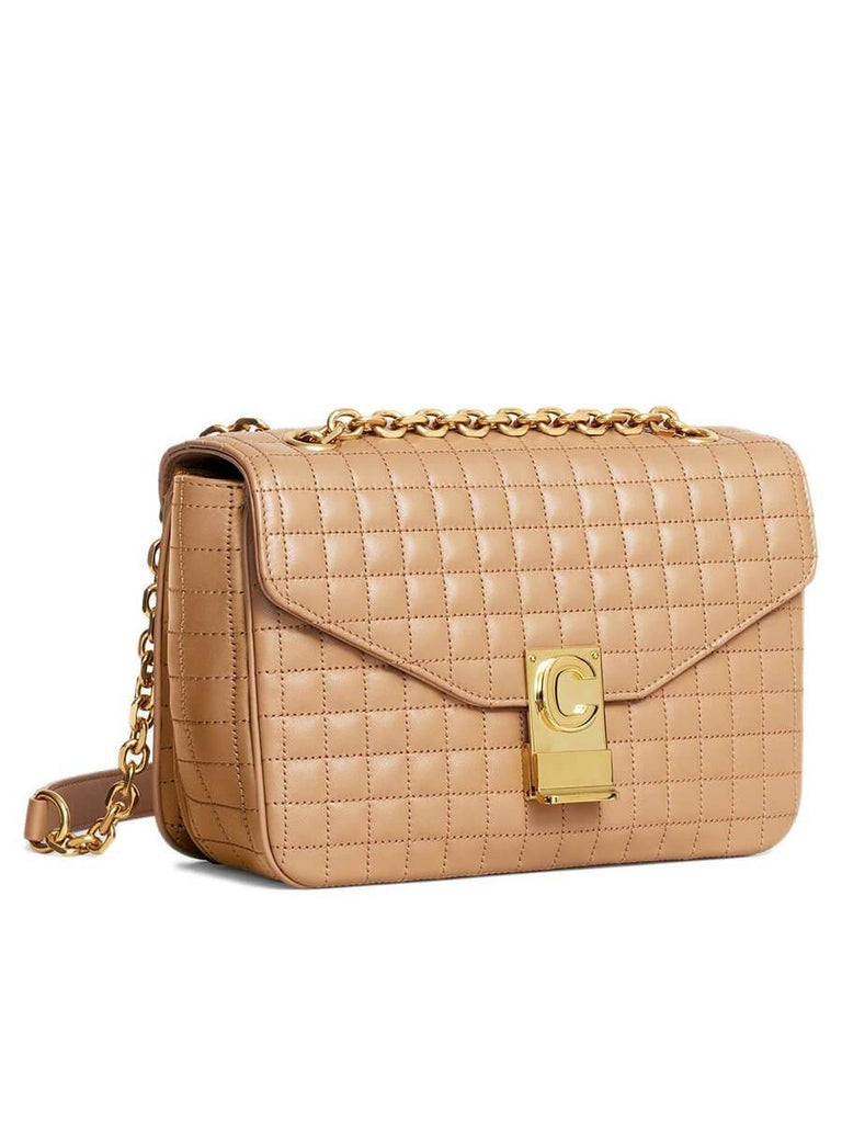 Medium C Bag in Light Camel Quilted Calfskin