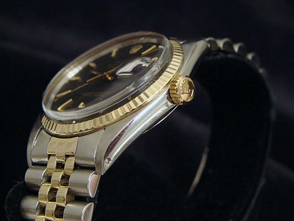Pre Owned Mens Rolex Two-Tone Datejust with a Black Dial 1601