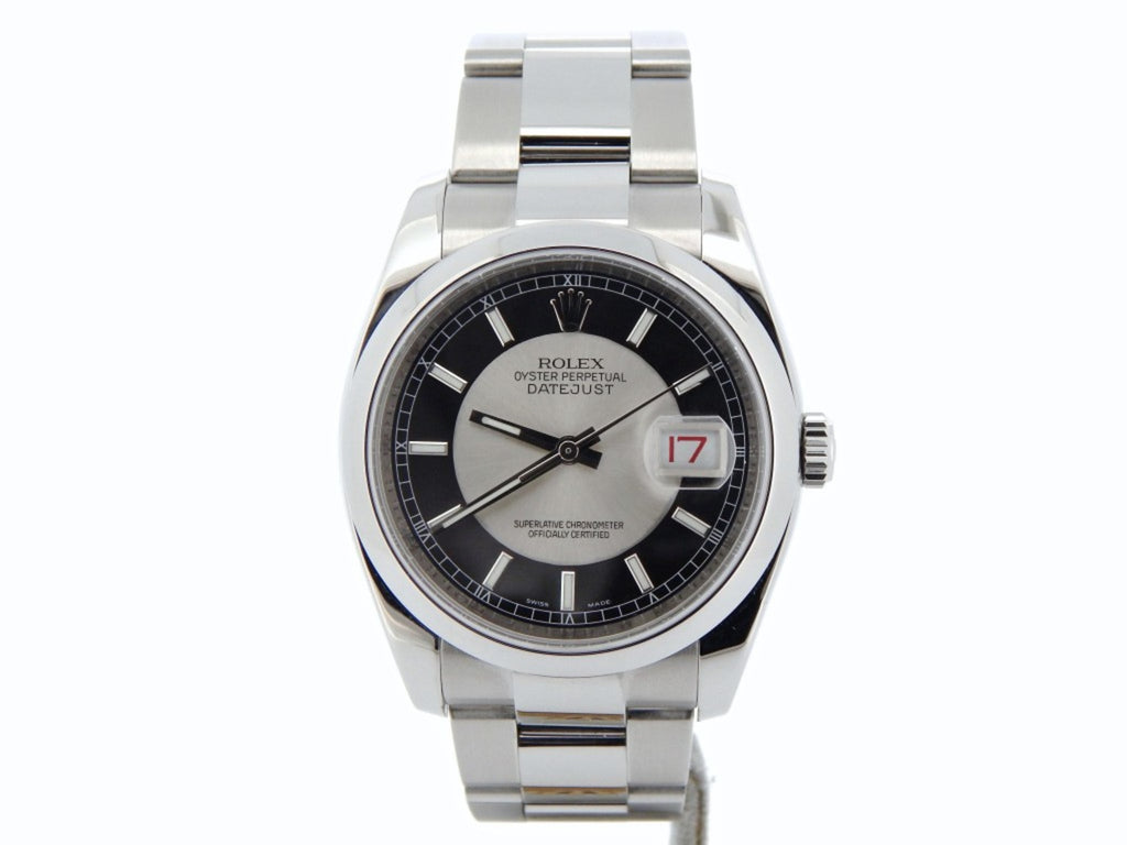 Pre Owned Mens Rolex Stainless Steel Datejust with a Tuxedo Dial 116200