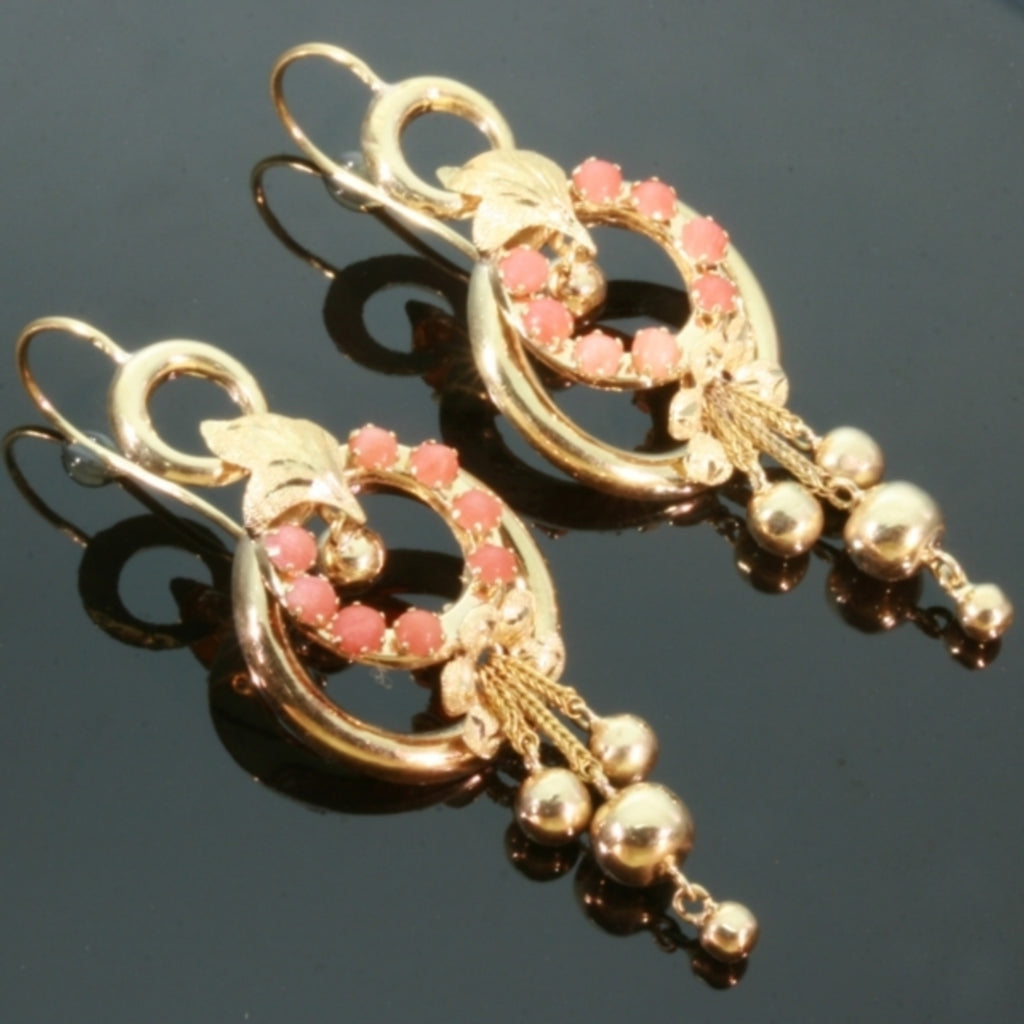 Coral gold Victorian dangle earrings