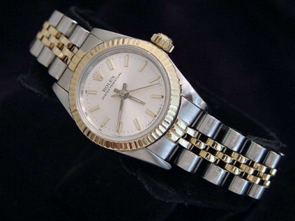 PRE OWNED LADIES ROLEX TWO-TONE OYSTER PERPETUAL WITH A SILVER DIAL 67193