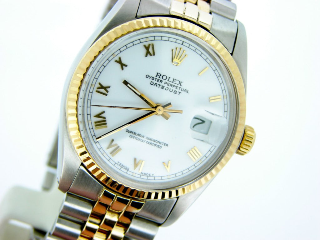 Pre Owned Mens Rolex Two-Tone Datejust with a White Roman Dial 16013