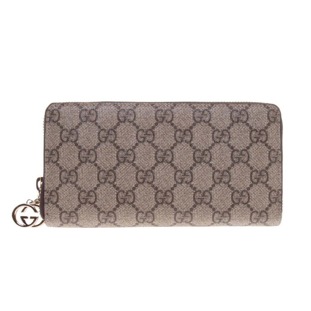 Gucci 307982 Beige/Ebony GG Supreme Canvas Zip Around Long Wallet