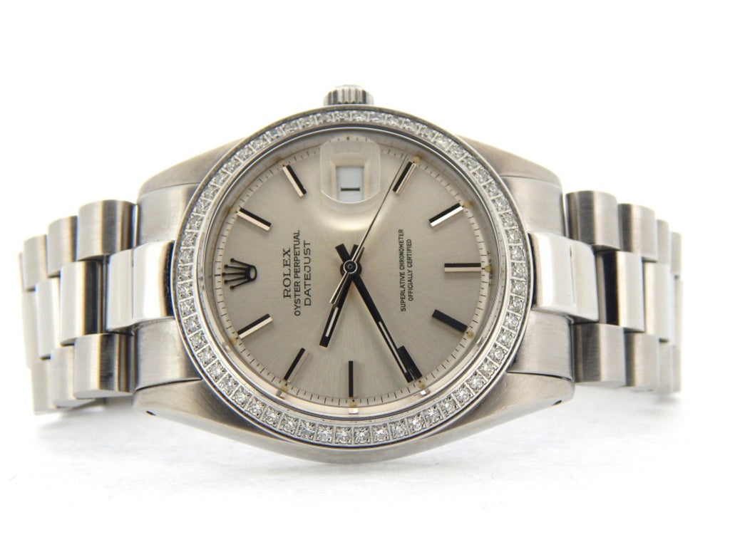 Pre Owned Mens Rolex Stainless Steel Datejust Diamond with a Silver Dial 1603