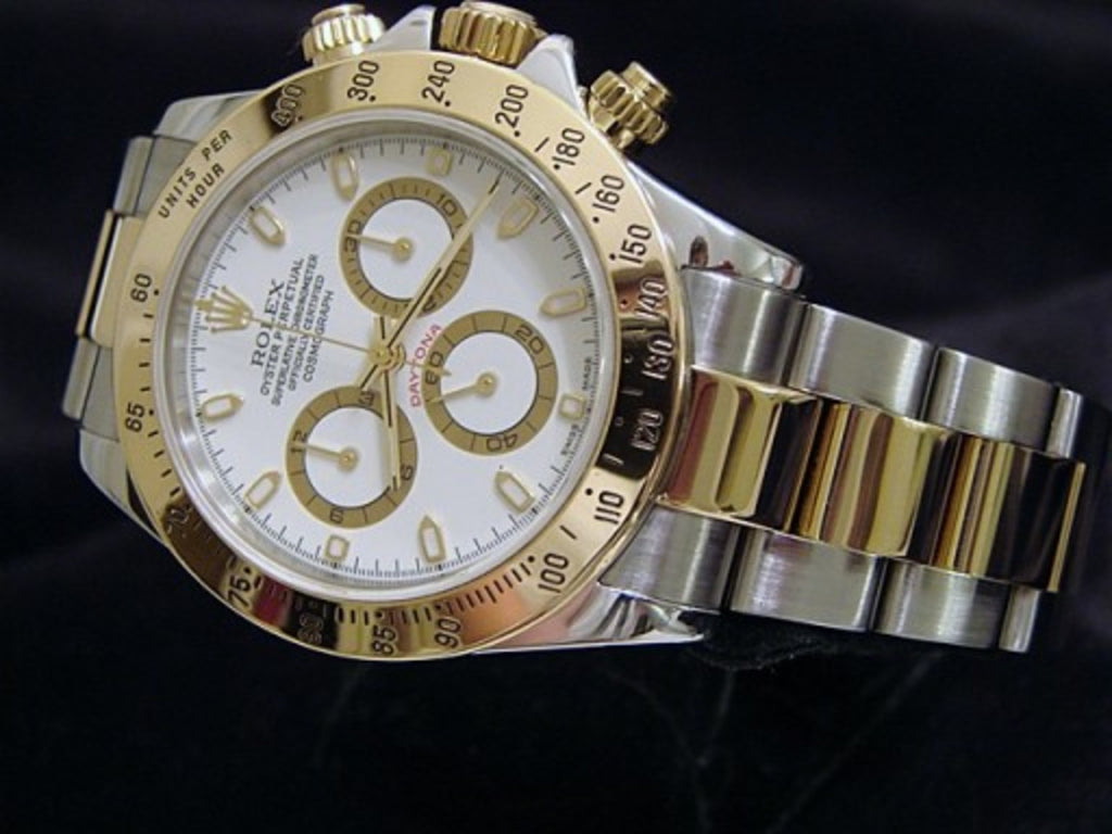 PRE OWNED MENS ROLEX TWO-TONE DAYTONA WITH A WHITE DIAL 116523