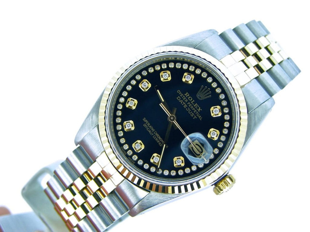 Pre Owned Mens Rolex Two-Tone Datejust Diamond String Black 16013