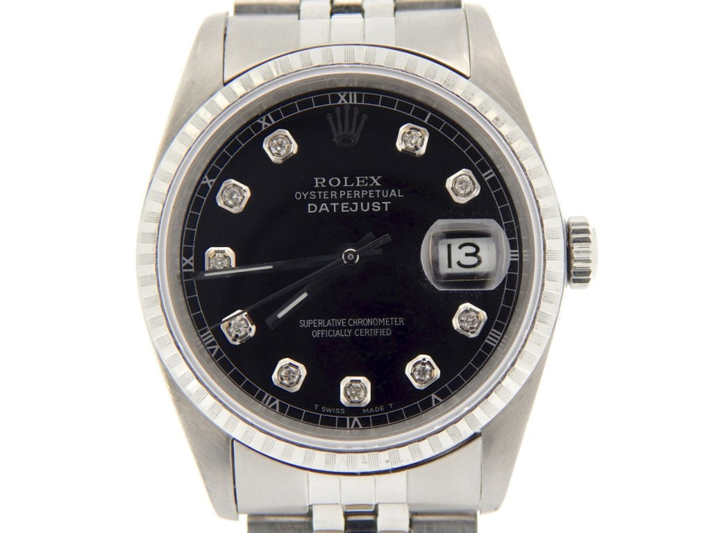 Pre Owned Mens Rolex Stainless Steel Datejust with a Black Diamond Dial 16220