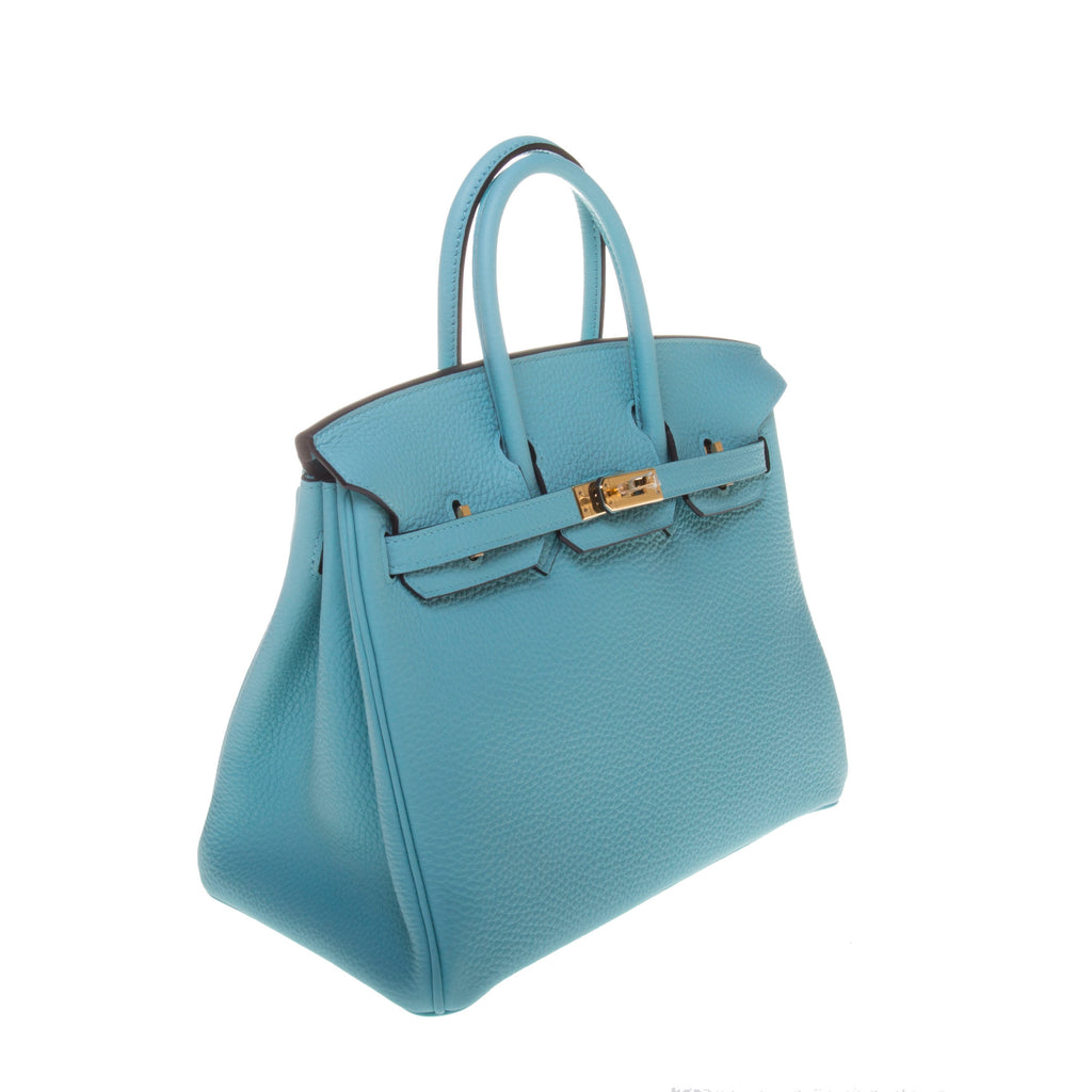 Hermes Bleu Atoll Taurillon Clemence Leather Birkin 25cm (T Stamp)