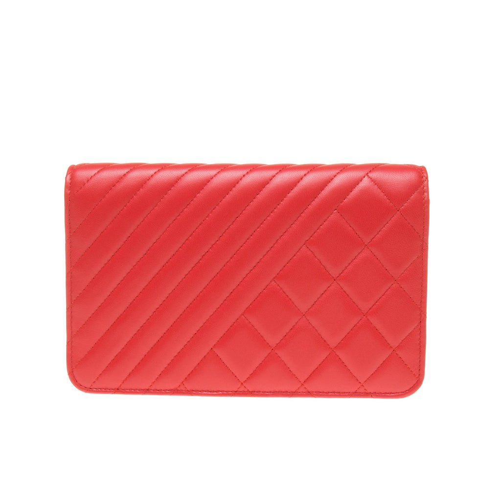 Chanel Orange Red Lambskin Quilted Wallet On Chain