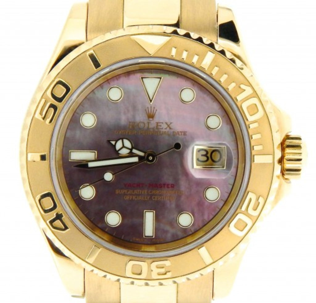 PRE OWNED MENS ROLEX YELLOW GOLD YACHT-MASTER DATE WITH A TAHITIAN MOP DIAL 1662