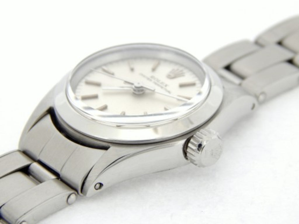 PRE OWNED LADIES ROLEX STAINLESS STEEL OYSTER PERPETUAL WITH A SILVER DIAL 6618