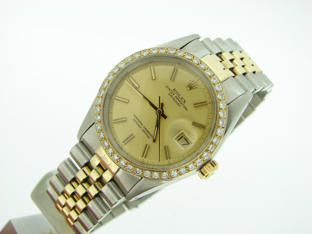 Pre Owned Mens Rolex Two-Tone Datejust Diamond with a Gold Dial 1601
