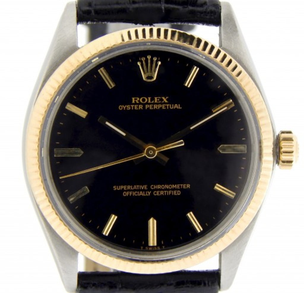 PRE OWNED MENS ROLEX TWO-TONE OYSTER PERPETUAL WITH A BLACK DIAL 1005