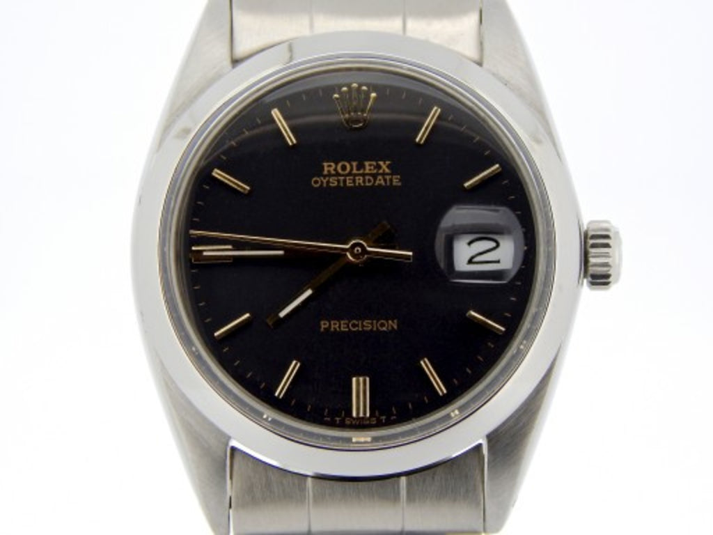 PRE OWNED MENS ROLEX STAINLESS STEEL OYSTERDATE WITH A BLACK DIAL 6694