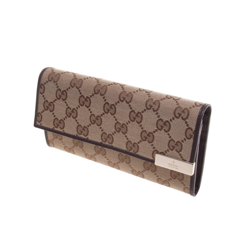 Gucci 291099 Beige/Ebony GG Fabric Continental Long Wallet