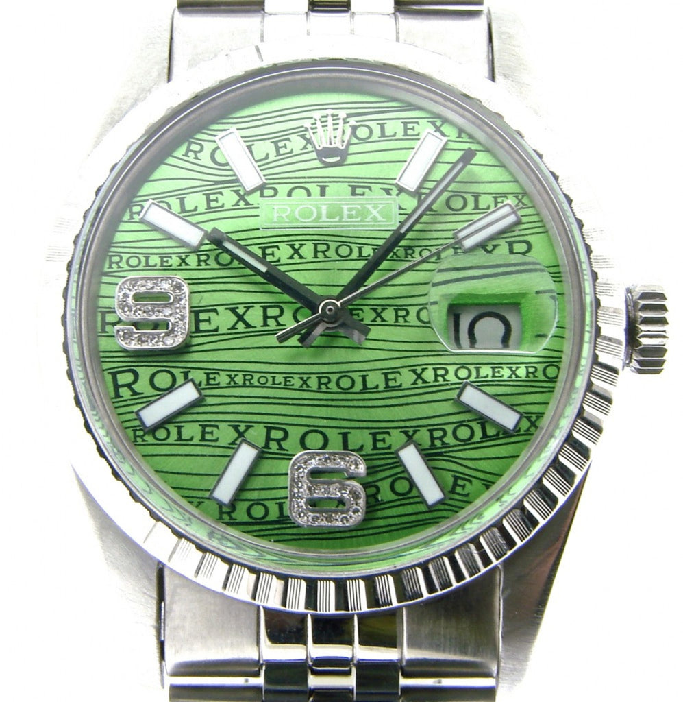 Pre Owned Mens Rolex Stainless Steel Datejust Green Arabic Diamond Wave 16030