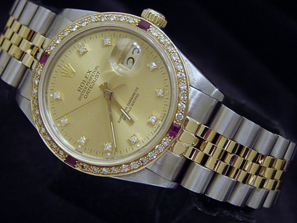 Pre Owned Mens Rolex Two-Tone Datejust Diamond Ruby Gold 16013