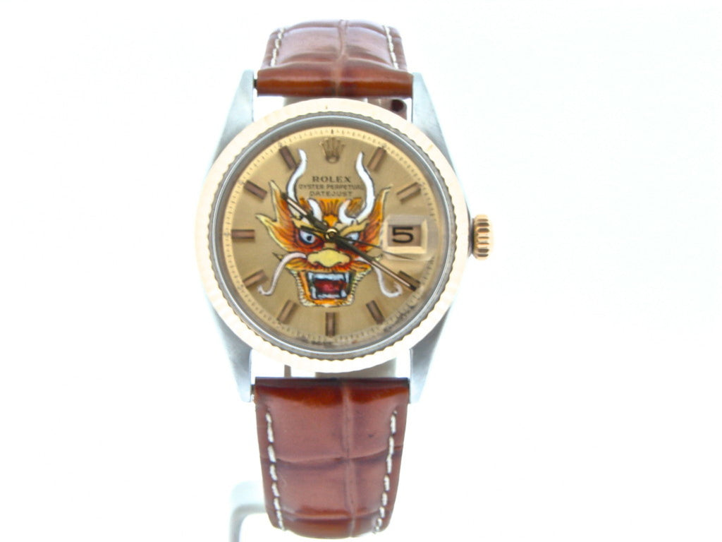 Pre Owned Mens Rolex Two-Tone Datejust with a Gold Dragon Dial 1601