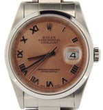 Pre Owned Mens Rolex Stainless Steel Datejust with a Salmon Roman Dial 16200