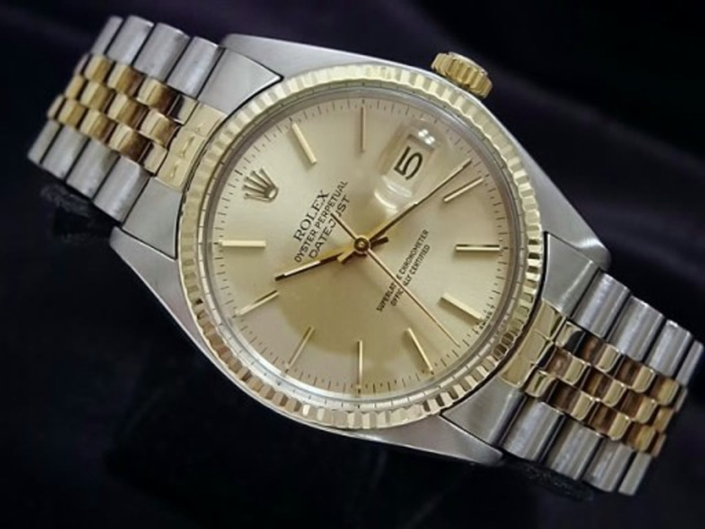 Pre Owned Mens Rolex Two-Tone Datejust with a Gold Champagne Dial 16013