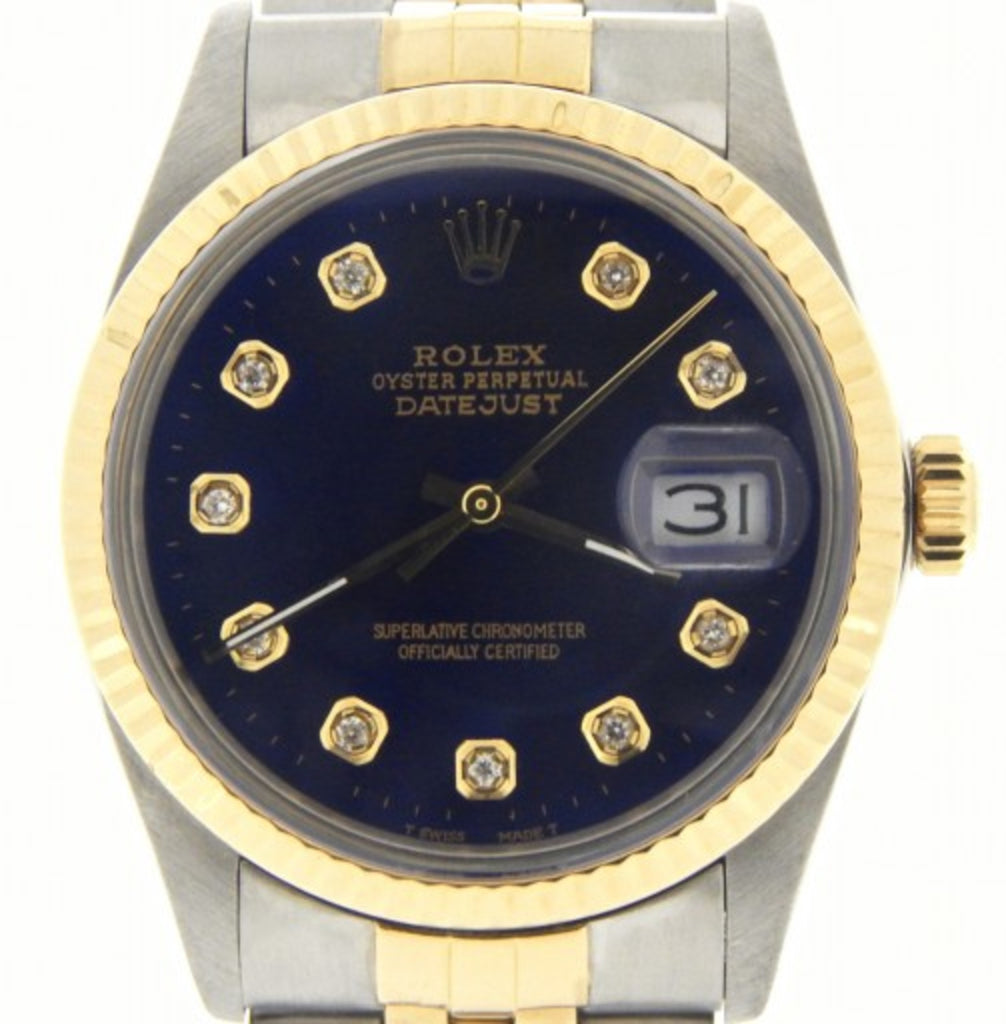Pre Owned Mens Rolex Two-Tone Datejust with a Blue Diamond Dial 16013