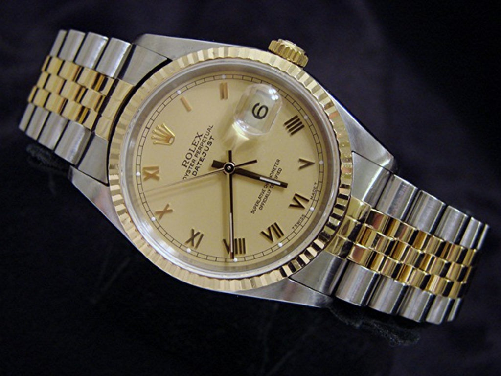 Pre Owned Mens Rolex Two-Tone Datejust with a Gold Roman Dial 16233