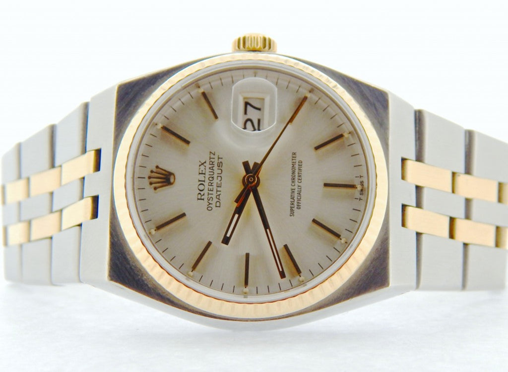 Pre Owned Mens Rolex Two-Tone Oysterquartz Datejust Silver 17013