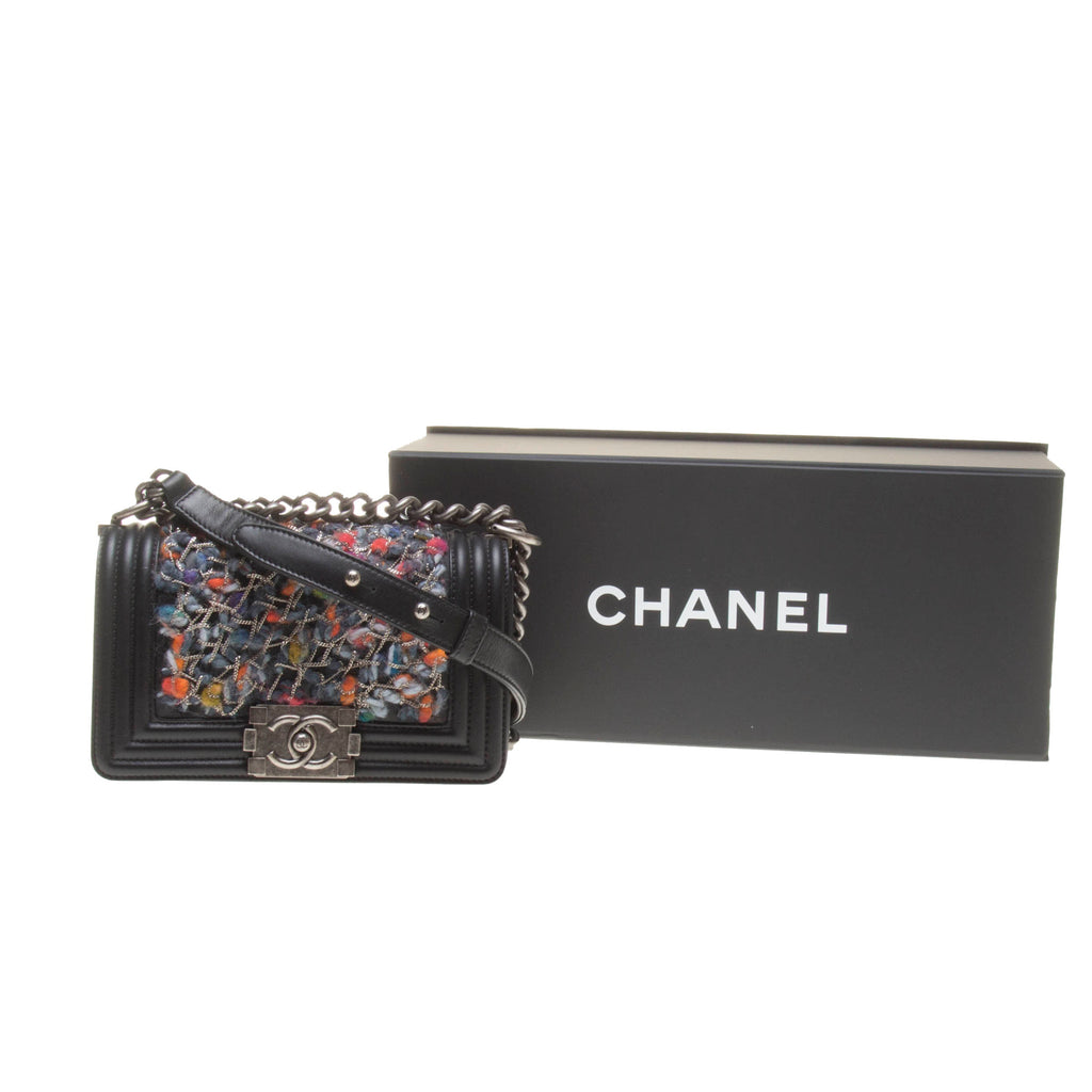 Chanel Black Lambskin with Multicolor Wool Boy Chanel (Small)