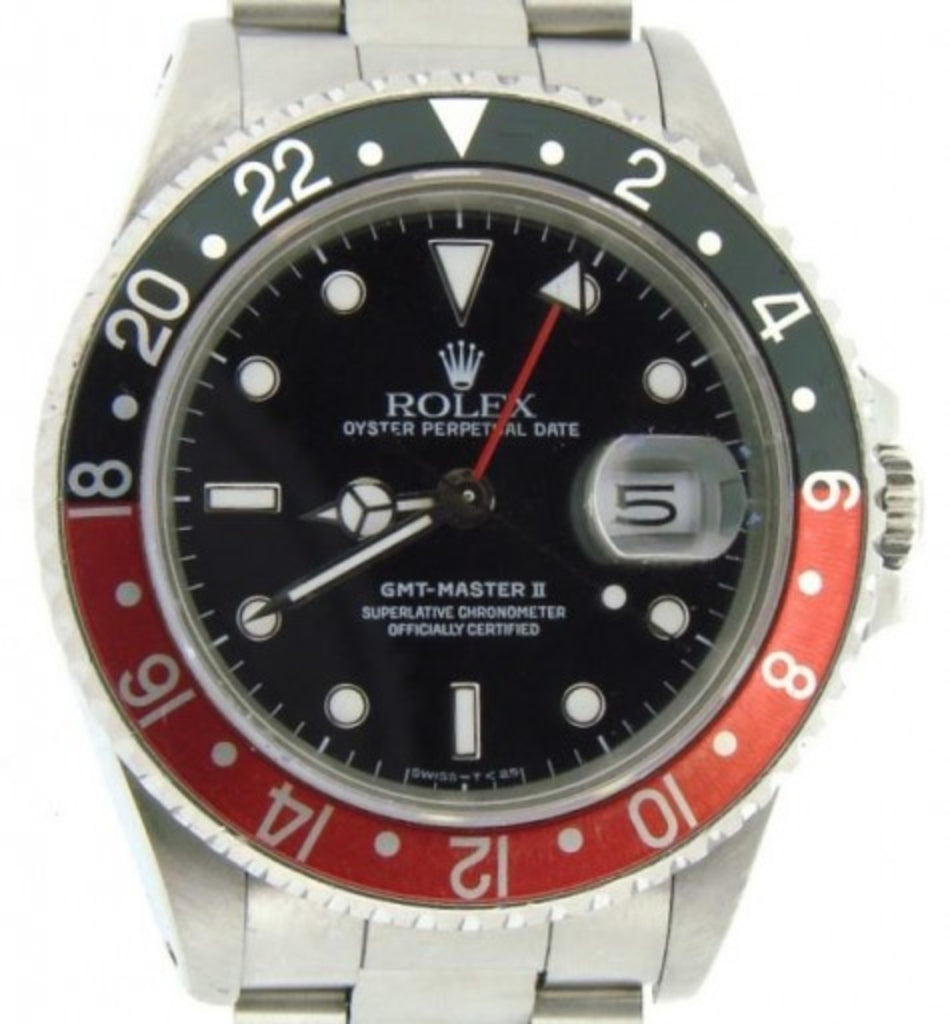 PRE OWNED MENS ROLEX STAINLESS STEEL GMT MASTER II COKE WITH A BLACK DIAL 16710