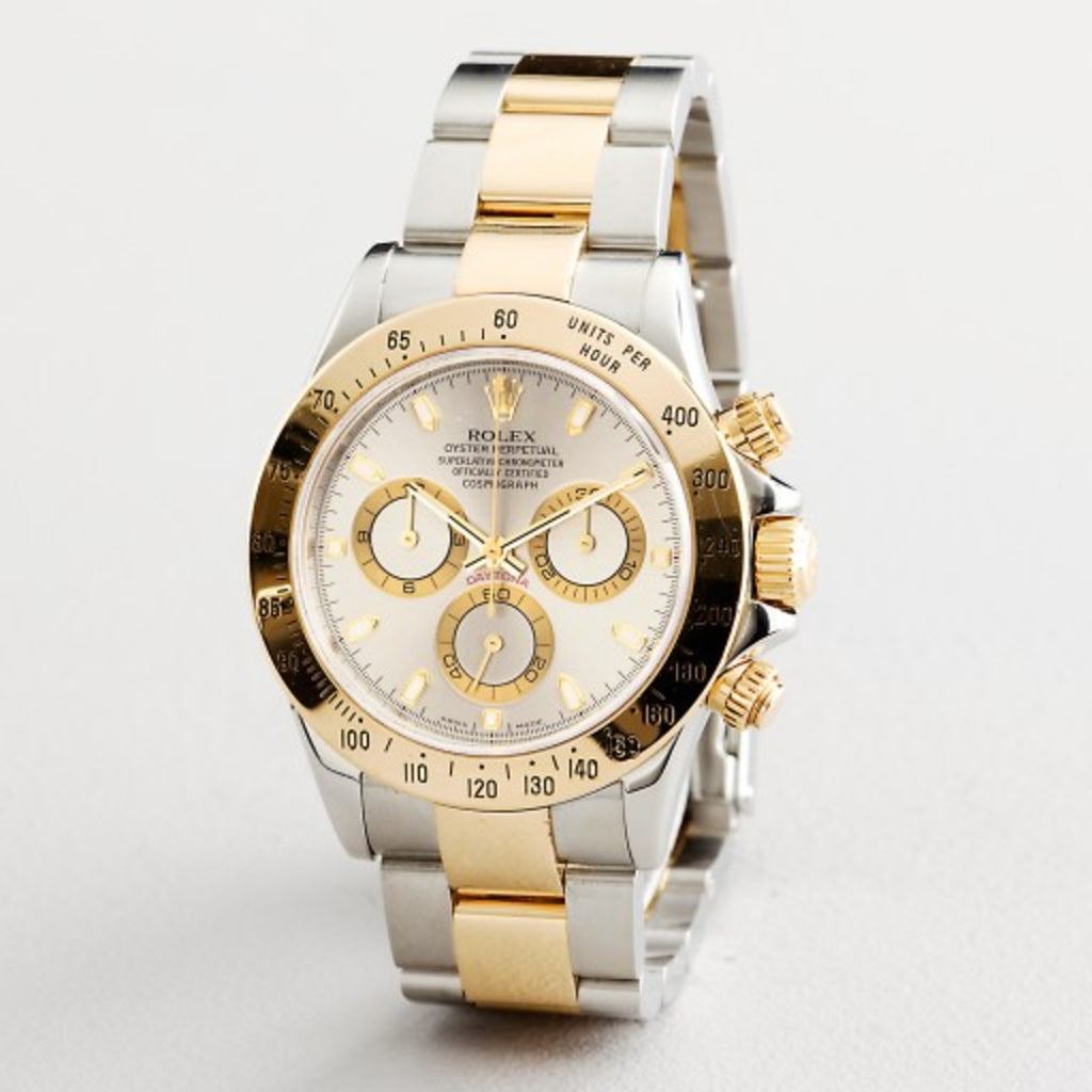 PRE OWNED MENS ROLEX TWO-TONE DAYTONA WITH A SLATE DIAL 116523