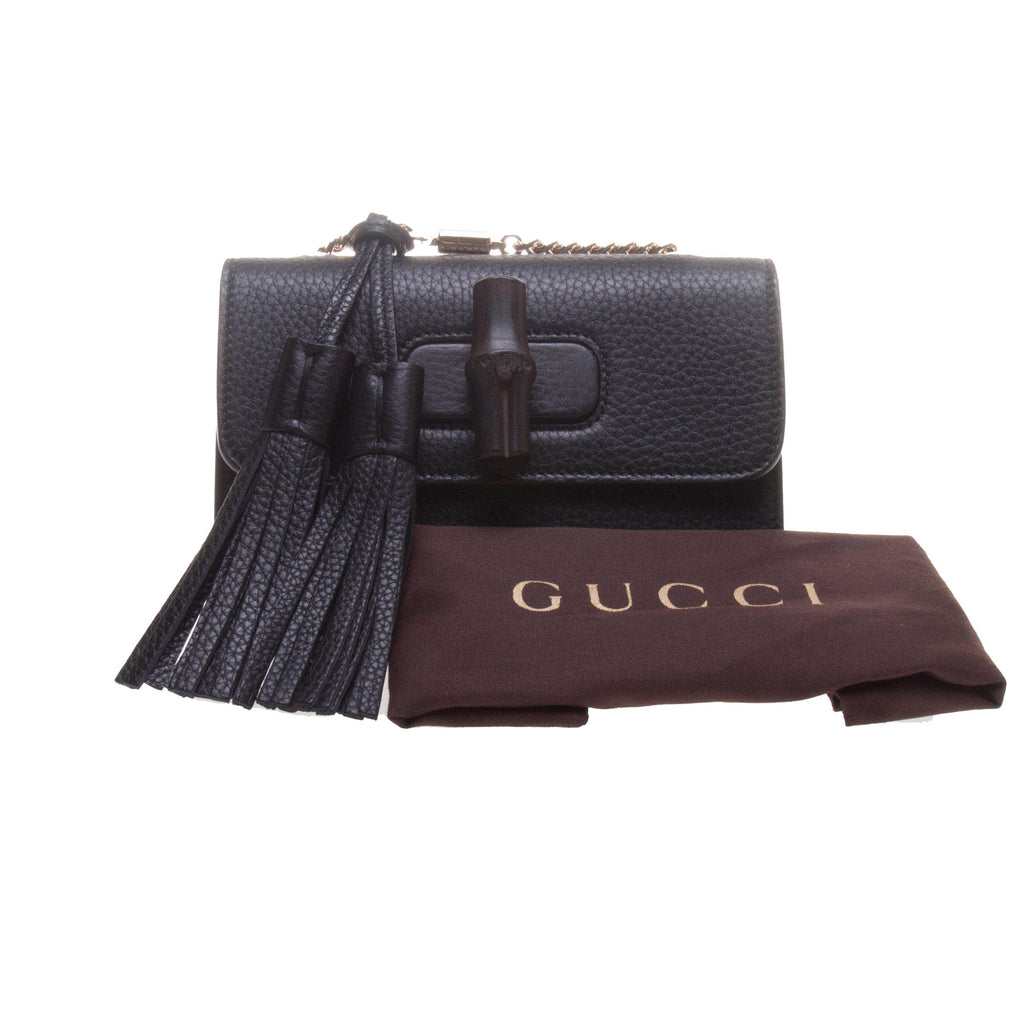 Gucci 387612 Black Bamboo Daily Leather Chain Bag