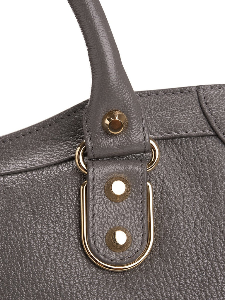 Classic Metallic Edge City Medium Grey Leather Tote