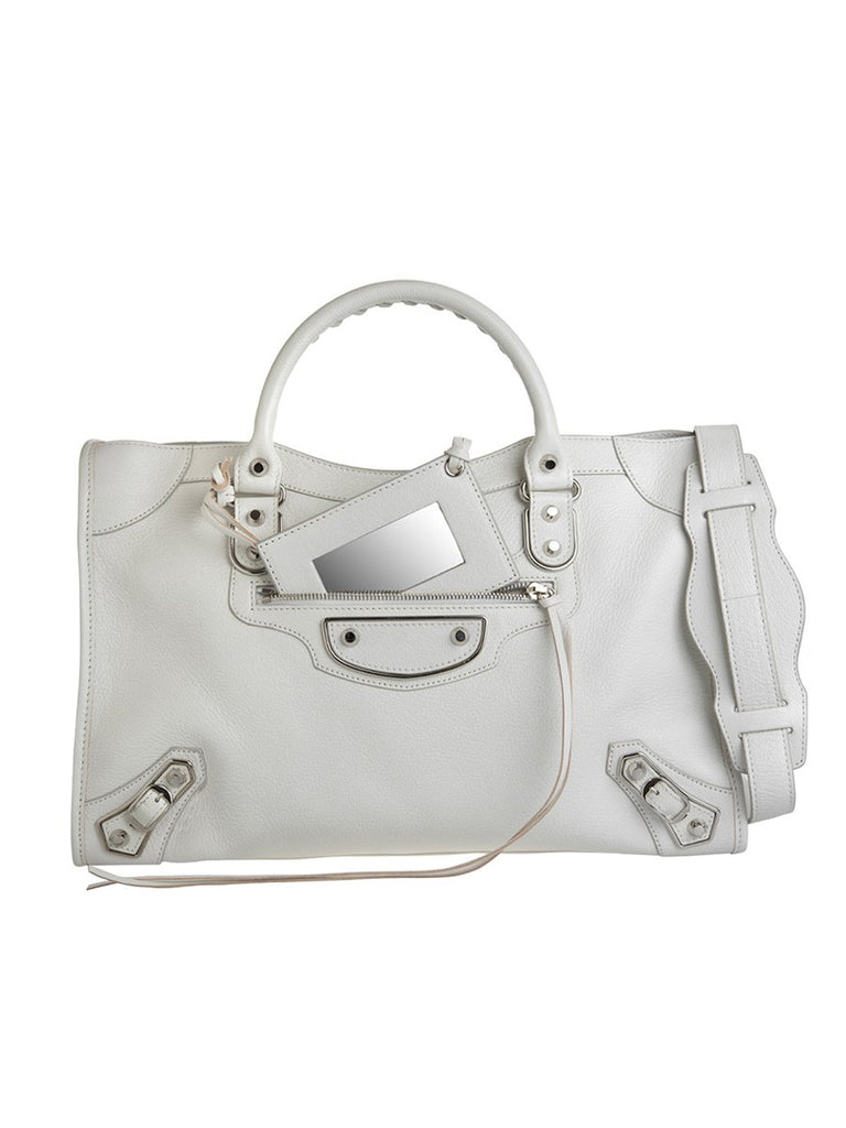 Classic Metallic Edge City Medium White Leather Tote