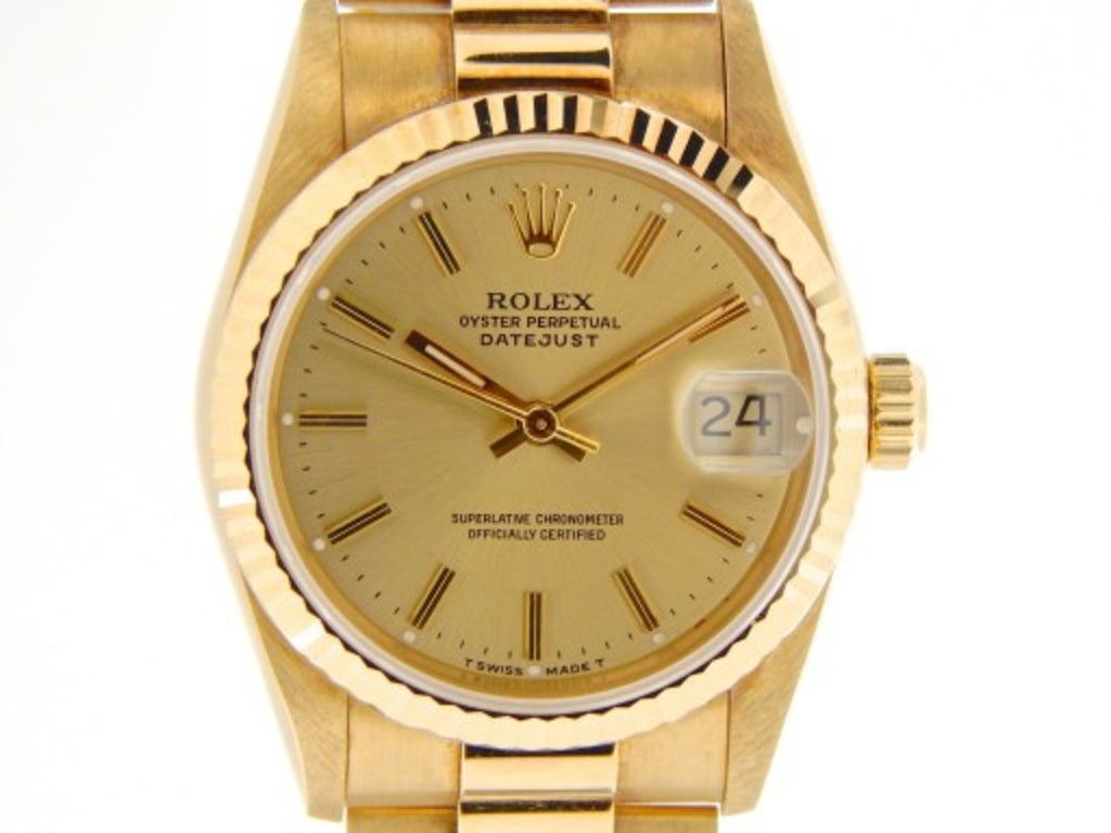 Pre Owned Mid-Size Rolex Yellow Gold Datejust President Gold Champagne 68278