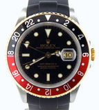 PRE OWNED MENS ROLEX TWO-TONE GMT-MASTER II COKE WITH A BLACK DIAL 16713