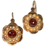 Antique almandine pearls drop earrings