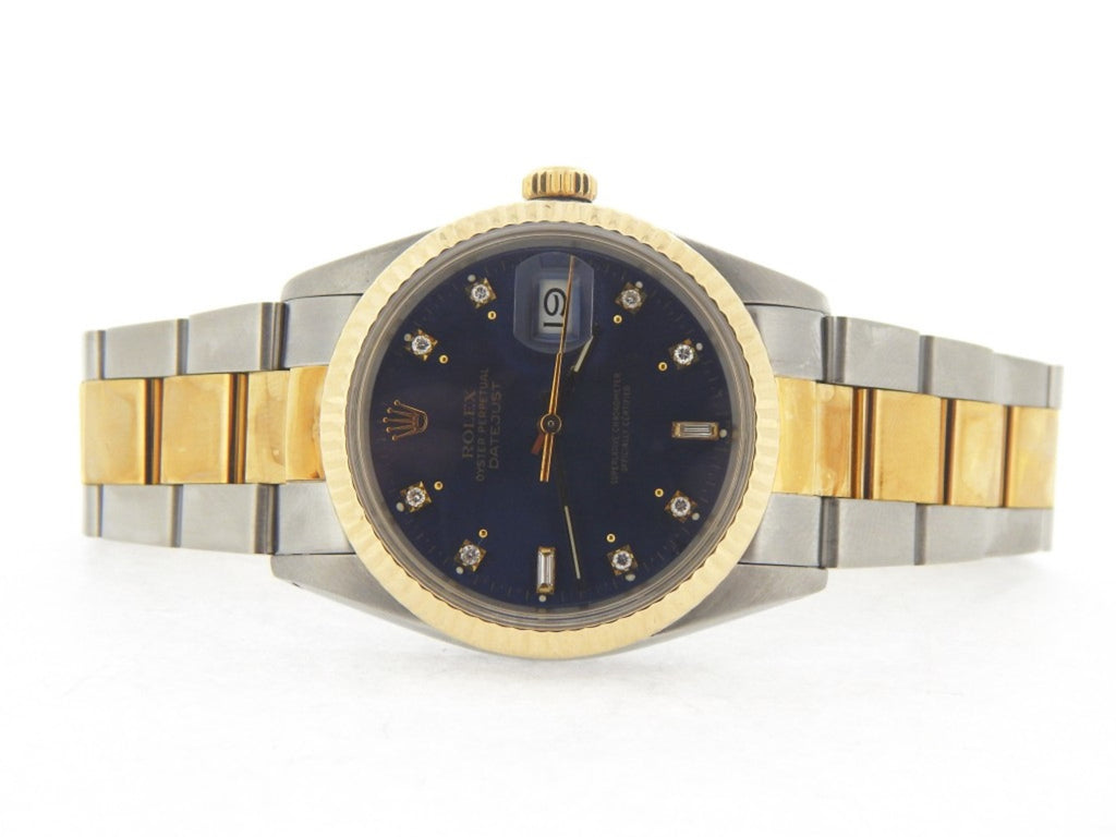 Pre Owned Mens Rolex Two-Tone Datejust Blue Diamond 16013
