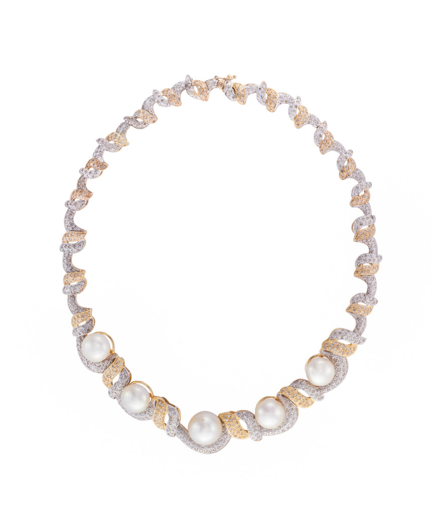 Sea pearl and diamond necklace
