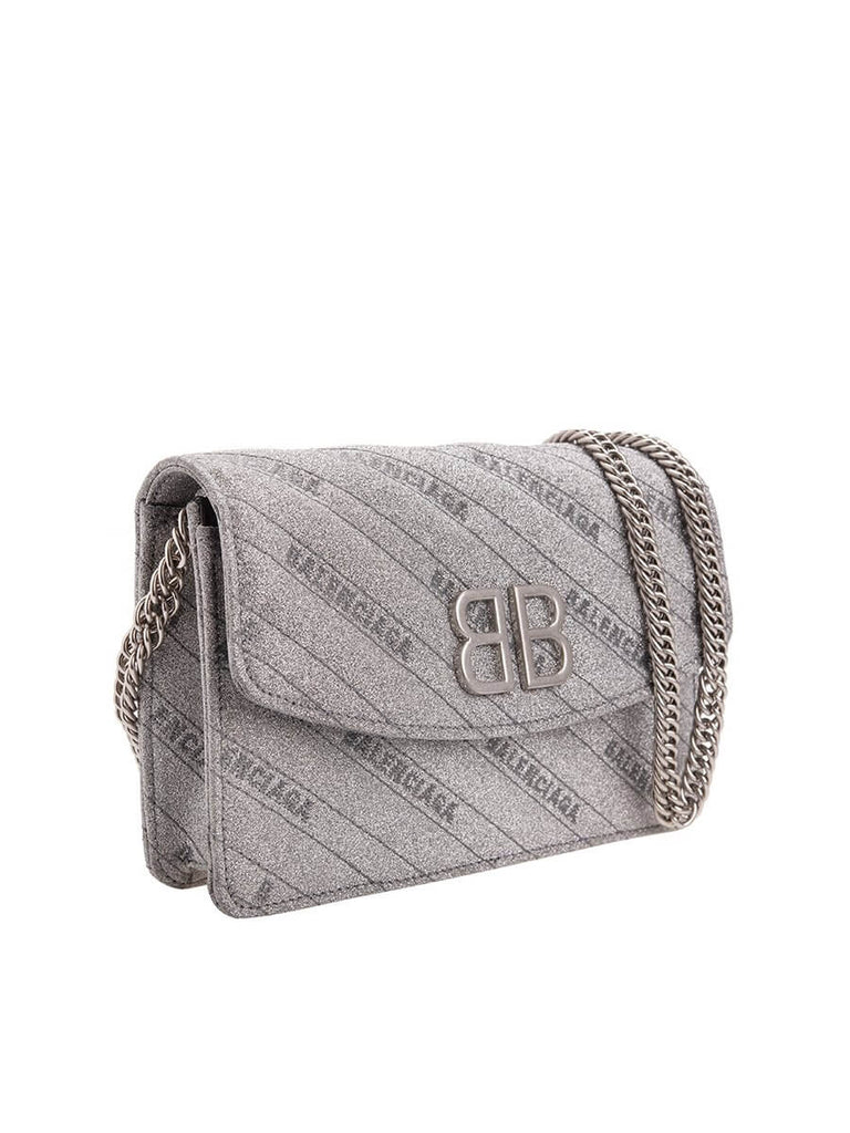 BB Silver Shimmer Wallet On Chain Bag