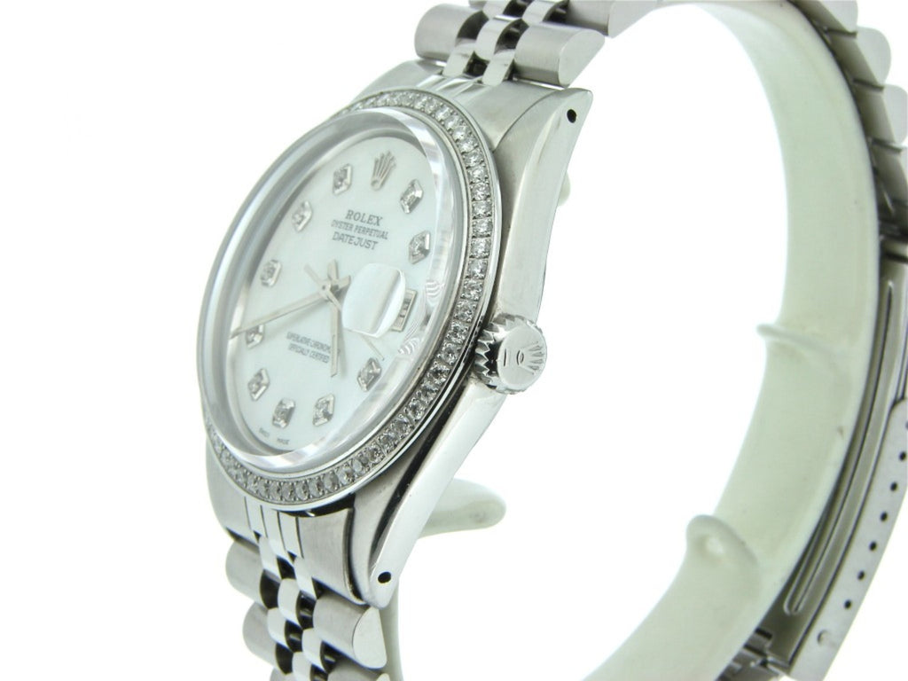 Pre Owned Mens Rolex Stainless Steel Datejust Diamond White MOP 1603
