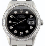 Pre Owned Mens Rolex Stainless Steel Diamond Datejust Black 16030
