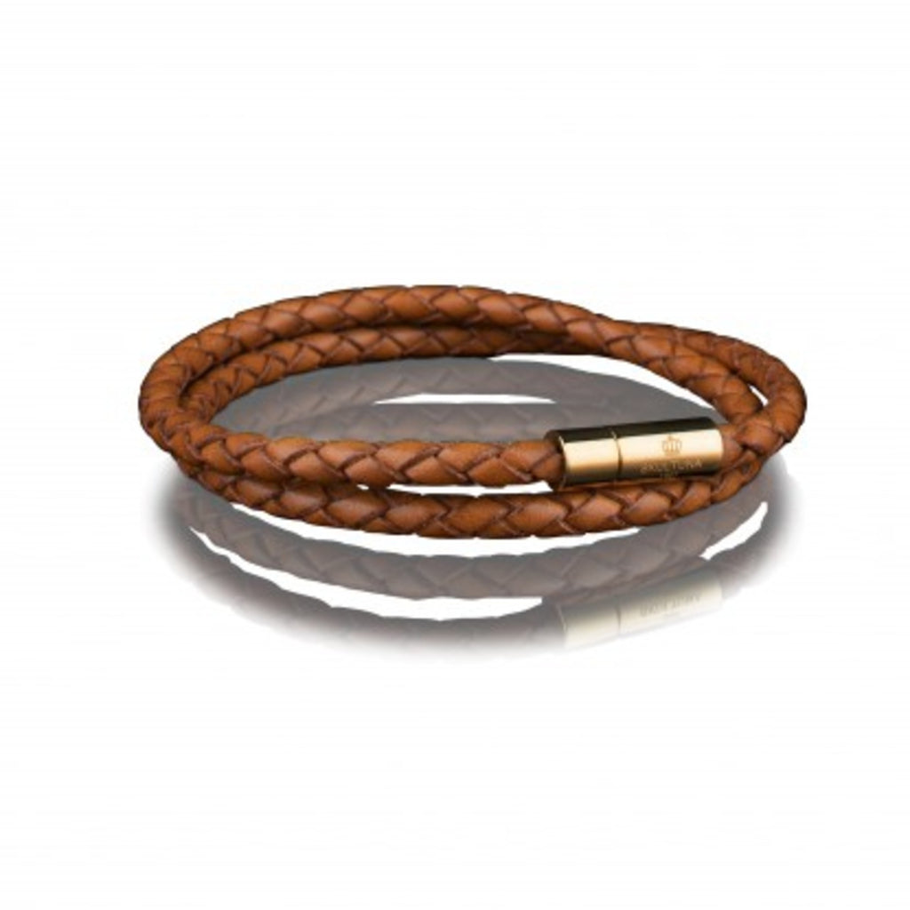 LEATHER BRACELET 4MM - GOLD