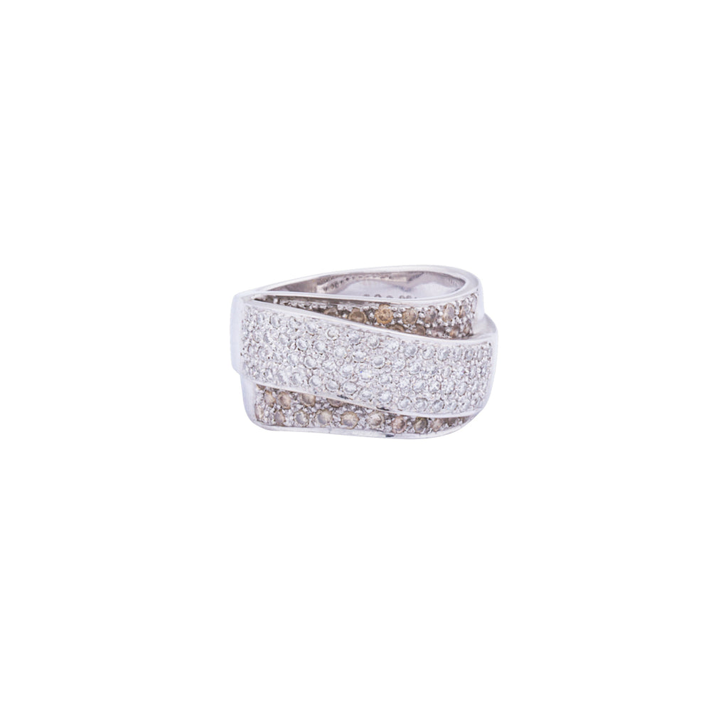 Pave set diamond crossover ring